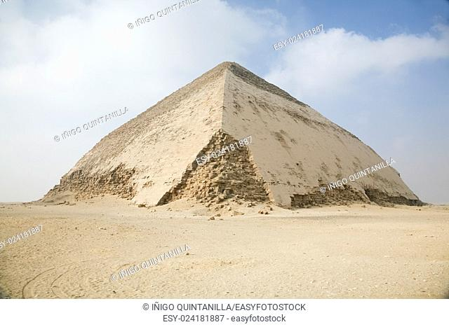 landscape of Bent Pyramid in Dahshur, Egypt, Africa, for Sneferu pharaoh, founded in century XXVI Before Christ