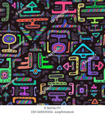 Vector seamless pattern with hand drawn neon color ornament maya on black background. Textile print, endless backdrop