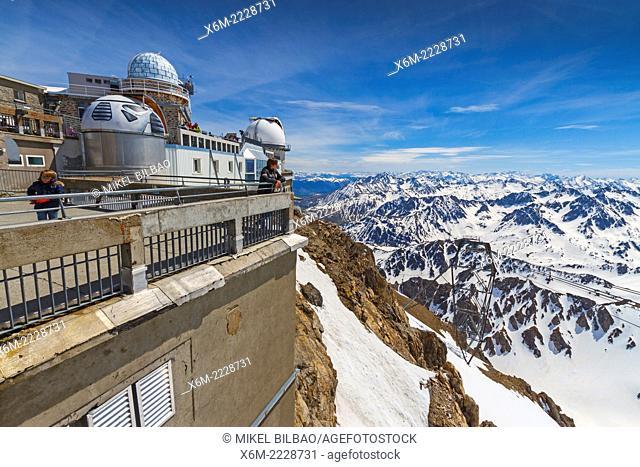 Pic du Midi Observatory and snow-covered mountains. Pic du Midi de Bigorre