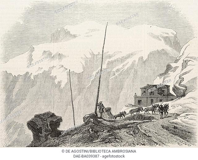 Summit of Colle di Tenda, Piedmont, Italy, illustration from L'Illustration, Journal Universel, No 460, Volume XVIII, December 18-25, 1851
