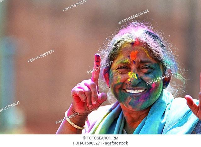 woman, festival, female, old, india, holi