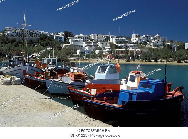 fishing boats, Paros, Greek Islands, Cyclades, Greece, Europe, Colorful fishing boats docked in the harbor of Piso Livadi on Paros Island on the Aegean Sea