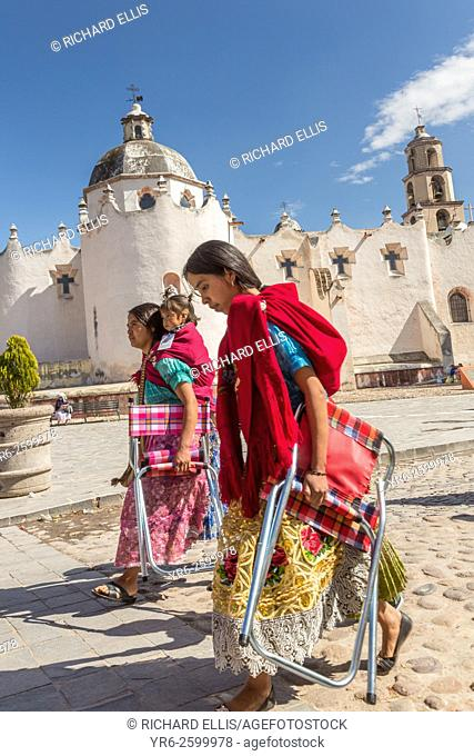 Indigenous pilgrims holds a procession past the Sanctuary of Atotonilco an important Catholic shrine in Atotonilco, Mexico