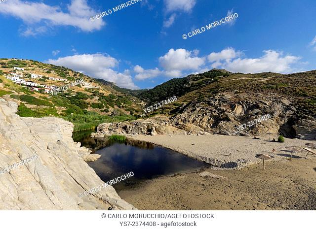 Nas beach at the mouth of a small river, Ikaria island, North Aegean islands, Greece, Europe