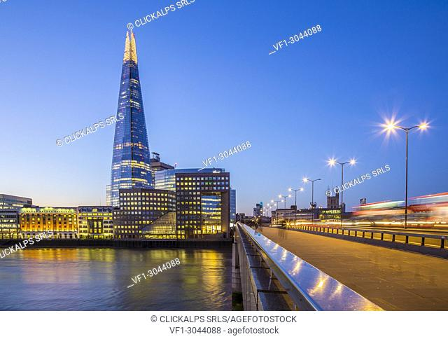 The Shard and the London bridge, London, United Kingdom