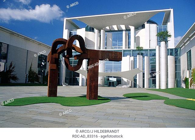 Chancellery forecourt with sculpture  'Berlin' from Eduardo Chillida architects: A Schultes Ch Frank Berlin Germany Berlin-Tiergarten