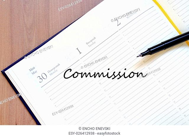 Commission text concept write on notebook