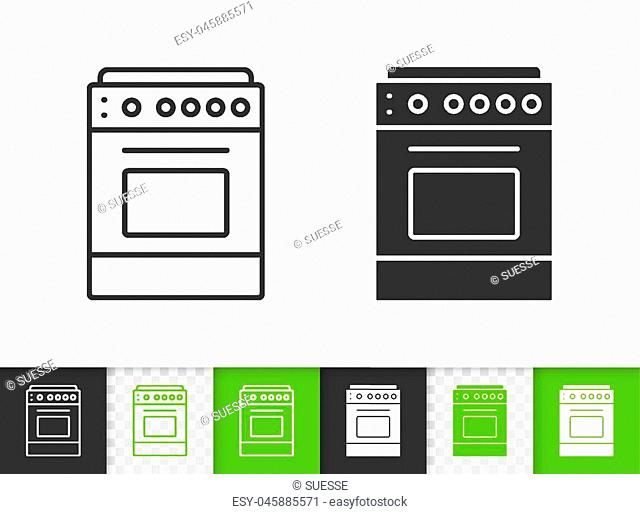 Stove black linear and silhouette icons. Thin line sign of oven. Cooker outline pictogram isolated on white, color, transparent background