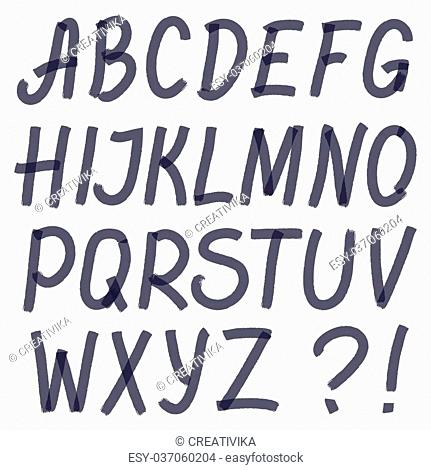 Handwritten highlighter alphabet - letters and symbols. Optimized for one click color changes. Transparent colors EPS10 vector