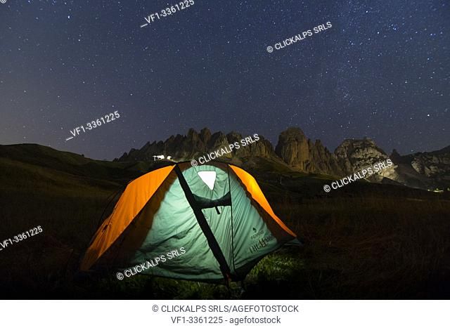 A tent during night at Gardena. Dolomites, Trentino Alto Adige, Italy