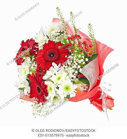 Colorful flower bouquet in red paper isolated on white background. Closeup