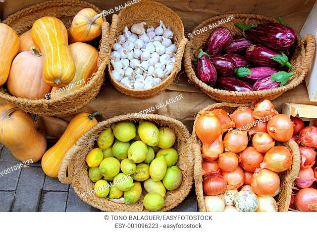 fruits and vegetables market garlic onion lemon eggplant basket