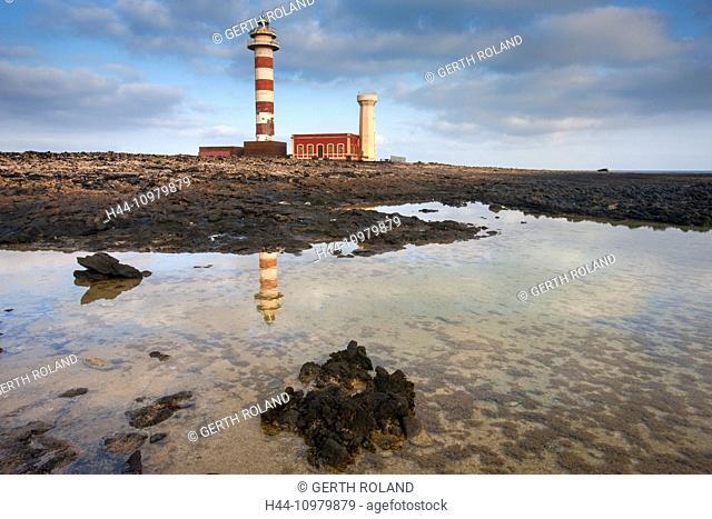 Faro de El Toston, Spain, Europe, Canary islands, Fuerteventura, coast, rock, cliff, lighthouse