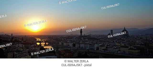 Panoramic cityscape at sunset, Florence, Tuscany, Italy