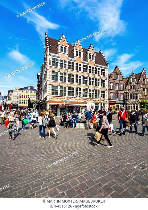 Kornmarkt with old houses, Ghent, Flanders, Belgium