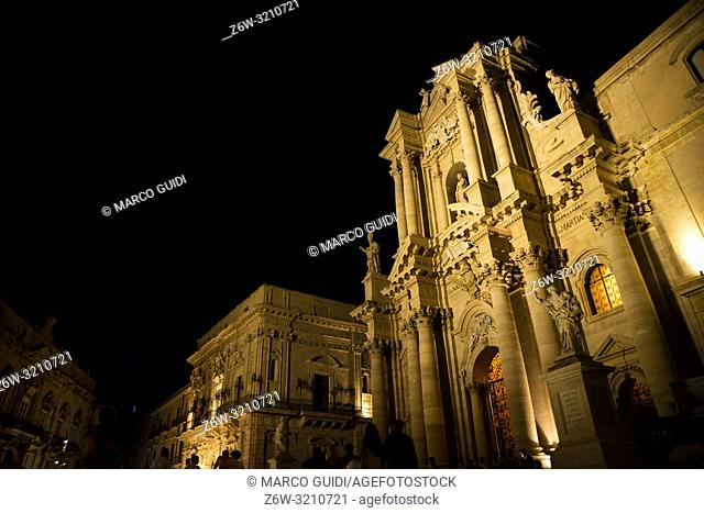 View of the square of Ortigia Syracuse Italy in Baroque style