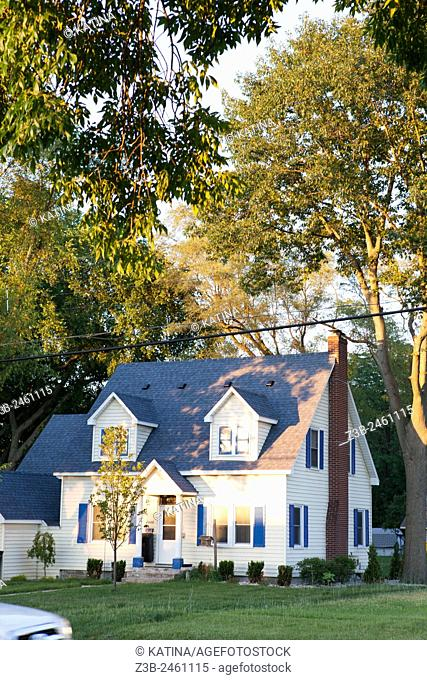 Two story house in a suburban, Midwestern town in summer, Midland, Michigan, Midwest, USA