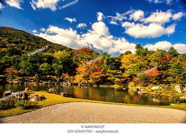 Zen garden in Tenryu-ji temple in autumn season at Arashiyama, Kyoto, Japan