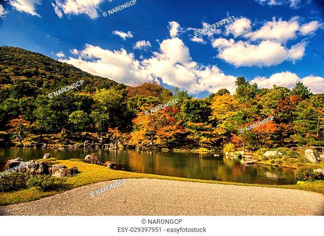 Zen garden in Tenryu-ji temple in autumn season at Arashiyama, Kyoto, Japan
