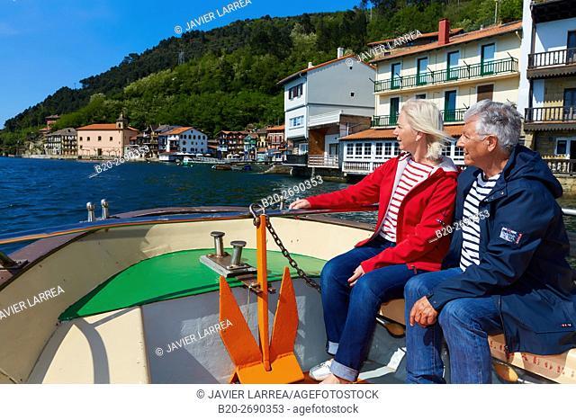 Senior couple, 60-70, Sailing Boat, Port of Pasaia, Pasajes San Juan, Pasai Donibane, Gipuzkoa, Basque Country, Spain, Europe