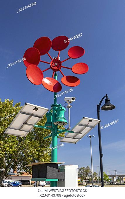 Detroit, Michigan - An artistic windmill at Eastern Market that will generate electricity to power a recharging station for electronic devices