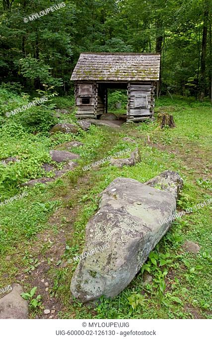 Out building at Ephraim Bales Place CA. 1865-1925 on the Roaring Fork Motor Nature Trail in the Great Smoky Mountains National Park, Tennessee