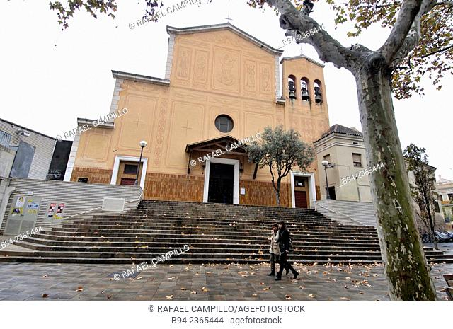 Santa Maria church, Bonet i Muixi square. Sants district. Throughout history there have been three different buildings, a Romanesque church