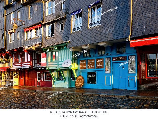 early morning, architecture along Vieux Bassin, Honfleur, Calvados, Normandy, France