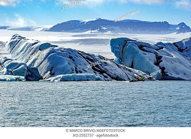 Jokulsarlon is a large glacial lake in southeast Iceland, on the edge of Vatnajokull National Park. Situated at the head of the Breidamerkurjokull glacier