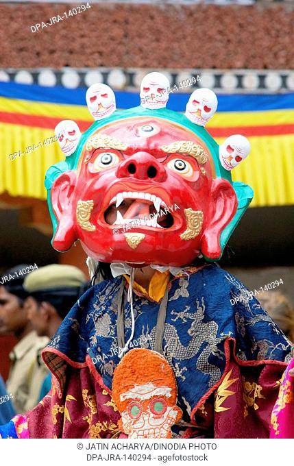 Mask dance at Hemis festival ; Hemis ; Leh ; Ladakh ; Jammu and Kashmir ; India