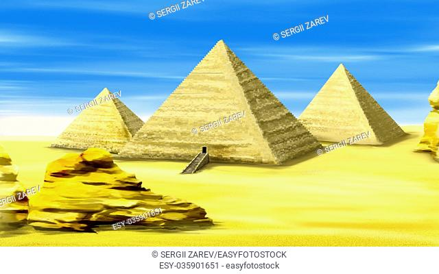 Digital painting of the Egyptian pyramids - one of the wonders of the world