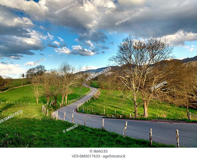 Road from Nava to Tresali, Asturias, Spain