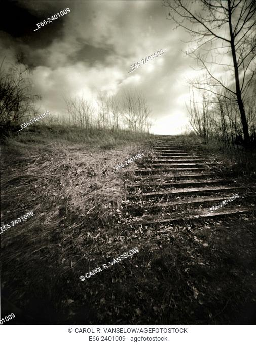 Stairway to heaven. stairway on hillside with cloudy sky. Shot with pinhole camera