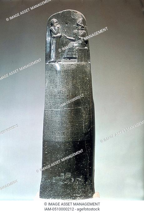 Stone stele inscribed with laws of Hammurabi, king of Babylon 1792-1750 BC Hammurabi enthroned at top  Louvre, Paris