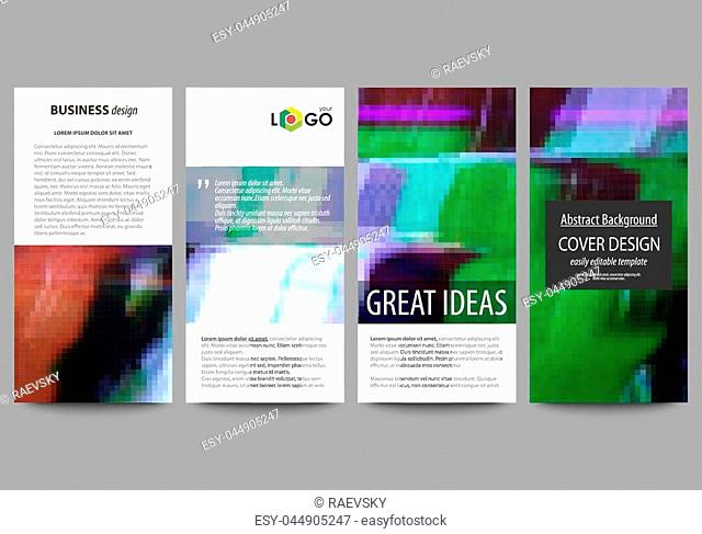 Flyers set, modern banners. Business templates. Cover design template, easy editable abstract vector layouts. Glitched background made of colorful pixel mosaic