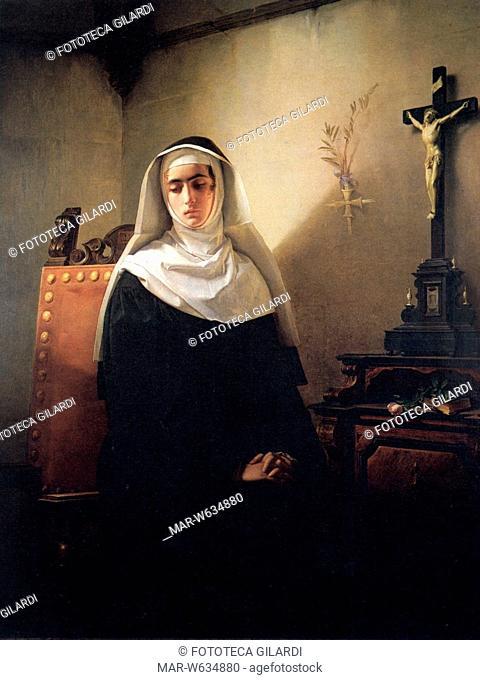 Alessandro MANZONI (1785?1873) 'I Promessi Sposi'. La Signora di Monza. Stampa da dipinto di Giuseppe Molteni, 1847, Copyright © Fototeca Gilardi