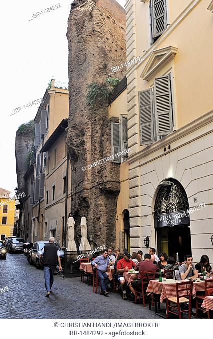 Roman wall, in Via dei Cestari, Rome, Lazio, Italy, Europe