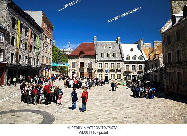 Tourists at Place Royale, Old Quebec City, Quebec, Canada