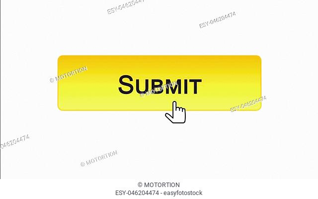 Submit web interface button clicked with mouse cursor, orange color, online, stock footage