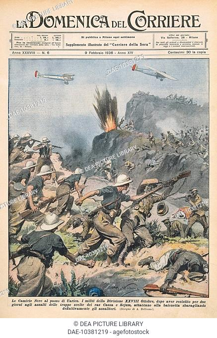 Blackshirts at the Uarieu Pass, Italo-Ethiopian War (1935-36). Illustrator Achille Beltrame (1871-1945), from La Domenica del Corriere, 9th February 1936