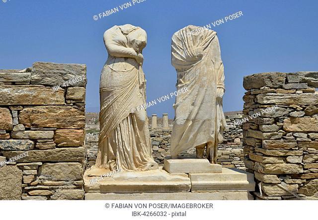 Ancient statues without heads, torsos, Delos island, UNESCO World Heritage Site, Mykonos, Cyclades, Greece
