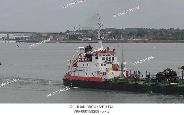 A gas tanker cruising on Southampton Water