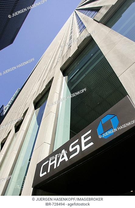 Emblem of the CHASE Bank on a building in Manhattan, New York, USA