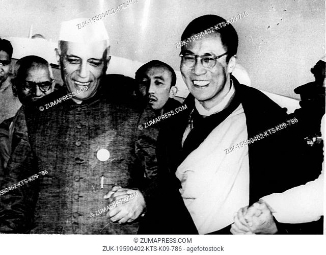 Apr. 2, 1959 - New Delhi, India - Tibetan spiritual leader TENZIN GYATSO is the 14th and current DALAI LAMA. PICTURED: The Dalai Lama arriving in New Delhi and...