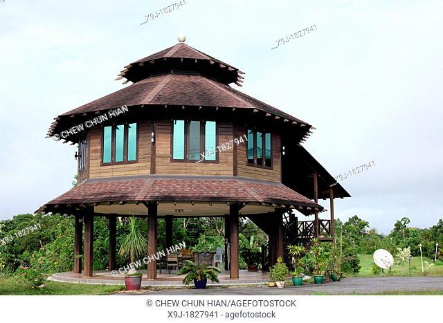 Wooden Chalets Cottage at Sia Beach Resort, Lundu, Sarawak, Malaysia