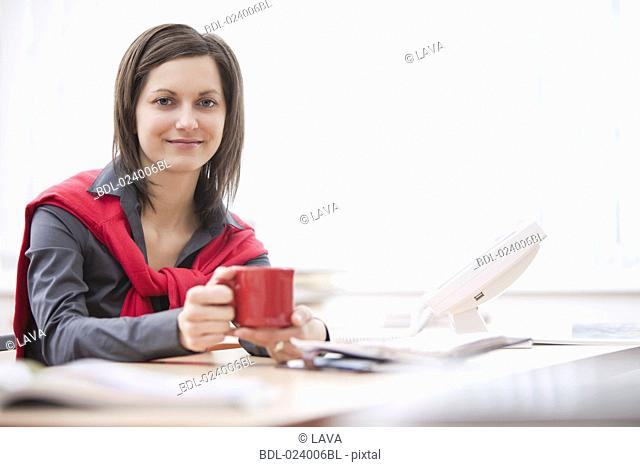 portrait of young businesswoman at desk