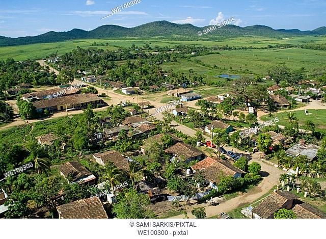 Former sugar cane plantation Manaca-Iznaga with the Escambray Sierra in the distance, Valle De Los Ingenios, Cuba