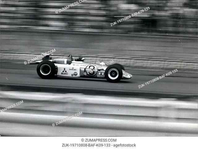 Aug. 08, 1971 - Japan Grand Prix: Japanese racing drivers Kuniomi Nagamatsu, and Osamu Masuko, each driving Japanese-built Mitsubishi Colt F2000's were first...