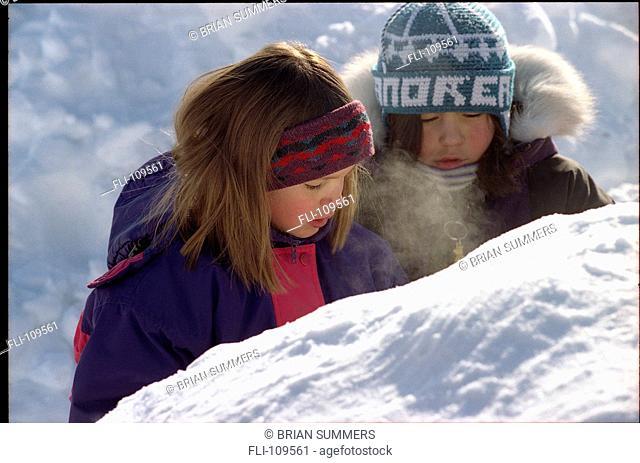 B.Summers, Children Playing in Snow, Nunavut