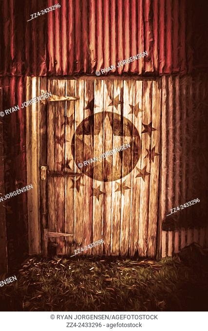 Artistic digital illustration of an army star on a closed world war 2 air force hanger door. Top secret bunker